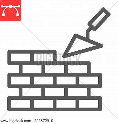 Brickwork Line Icon, Construction And Trowel, Build Brick Wall Sign Vector Graphics, Editable Stroke