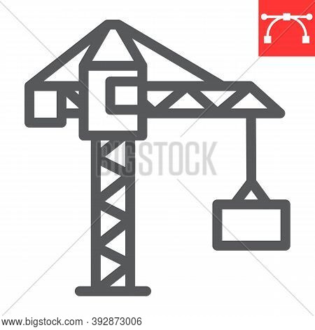 Construction Crane Line Icon, Construction And Industry, Building Crane Sign Vector Graphics, Editab