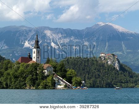 Bled Lake - Blejsko Jezero In Slovenia With Julian Alps