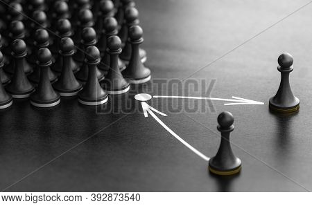 3d Illustration Of Pawns Over Black Background With One Piece Replaced By Another One. Concept Of Su