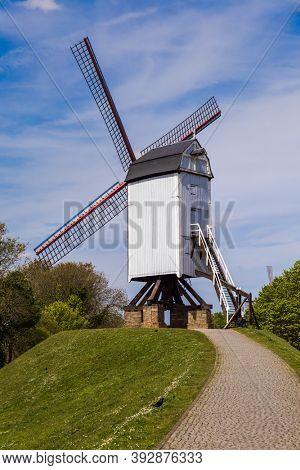 Windmill in Brugge - Belgium - architecture background
