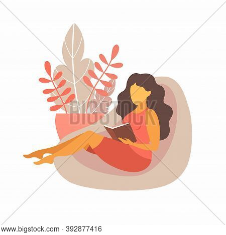 A Girl Reads On A Soft Pouf At Home. Vector Illustration