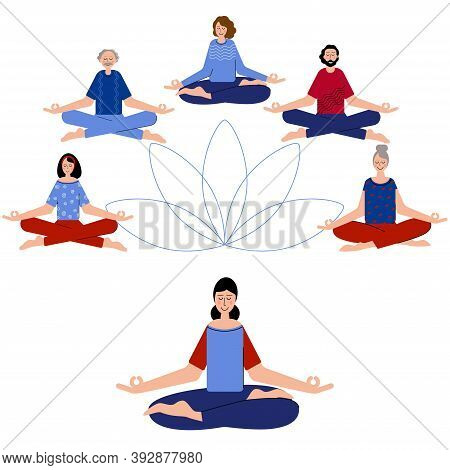 Yoga Is For Everyone. Group Of Pople Difrent Age Meditate Together To Feel More Relaxed, Clam And Fr