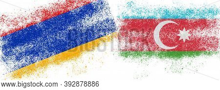 Conceptual Photo With The Flags Of Azerbaijan And Armenia During The Aggravation Of Relations Betwee