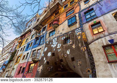 Hundertwasser house in Vienna Austria - modern architecture background