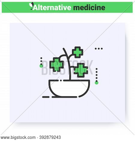 Herbal Medicine Line Icon. Healing Plant. Naturopathic, Herbal Treatment. Health Care And Wellness.