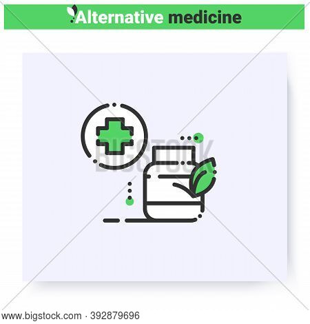 Herbal Remedy Line Icon.homeopathy. Ayurvedic Medicament.natural, Herbal Medicine.health Care And We