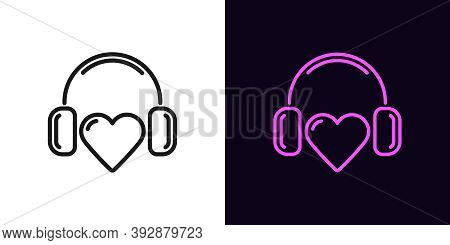Outline Music Heart Icon With Editable Stroke. Linear Heart Sign With Headphones, Heartbeat Melody.