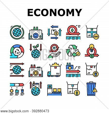 Circular And Linear Economy Model Icons Set Vector. Eco Friendly Plant And Industrial Factory, Manuf
