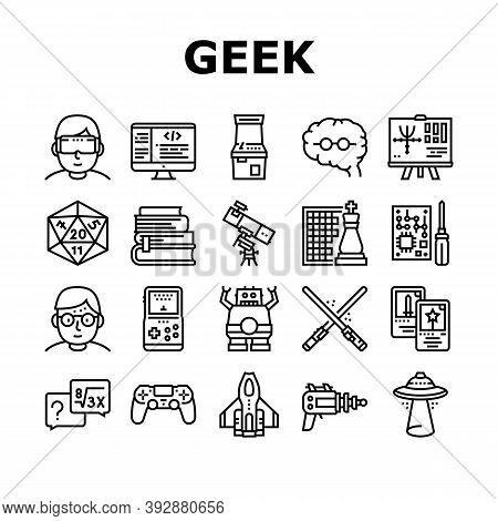 Geek, Nerd And Gamer Collection Icons Set Vector. Chess And Video Game, Mathematics And Astrology, U
