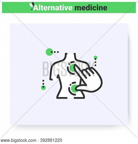 Acupressure Massage Line Icon. Reflexology. Chinese Medicine, Oriental Practise. Health Care And Wel
