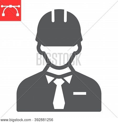 Builder Glyph Icon, Construction Worker And Repairman, Engineer Sign Vector Graphics, Editable Strok