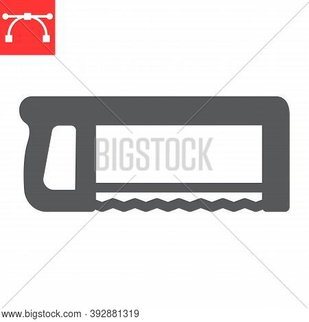 Hacksaw Glyph Icon, Construction And Carpentry, Handsaw Sign Vector Graphics, Editable Stroke Solid
