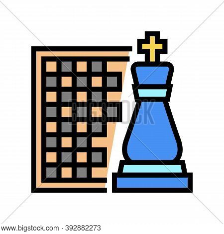 Chess Geek Color Icon Vector. Chess Geek Sign. Isolated Symbol Illustration