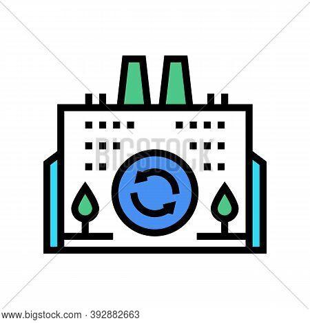 Eco Environmental Factory Color Icon Vector. Eco Environmental Factory Sign. Isolated Symbol Illustr