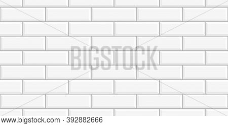 White Ceramic Brick Tile Wall. White Tiles Background. White Ceramic Tile Wall Background