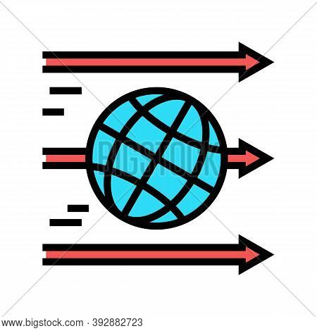 World Linear Economy Color Icon Vector. World Linear Economy Sign. Isolated Symbol Illustration
