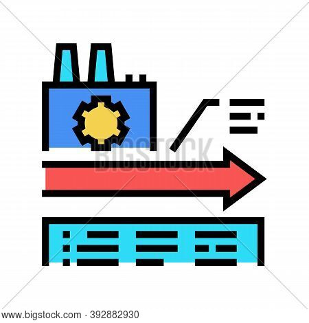 Manufacturing Linear Economy Color Icon Vector. Manufacturing Linear Economy Sign. Isolated Symbol I