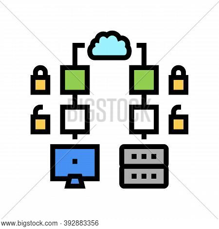 Multi-stage Encryption Color Icon Vector. Multi-stage Encryption Sign. Isolated Symbol Illustration