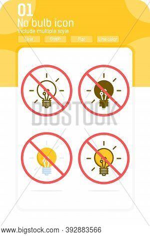 No Bulb Icon Isolated On White Background. No Idea, Forbidden Lamp, Prohibited Light Sign Symbol Ico