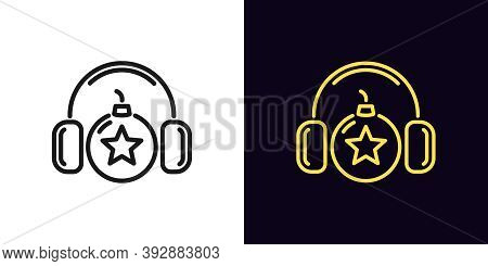 Outline Bomb Icon With Editable Stroke. Linear Bomb With Headphones And Star Sign, Explosive Sound.