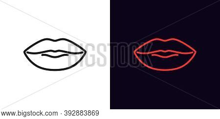 Outline Lips Icon. Linear Woman Lips Sign With Editable Stroke, Female Mouth. Sexy Lip Shape, Woman