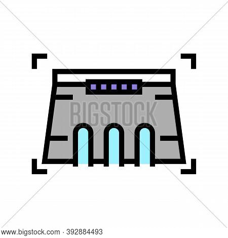 Dam Modeling Color Icon Vector. Dam Modeling Sign. Isolated Symbol Illustration