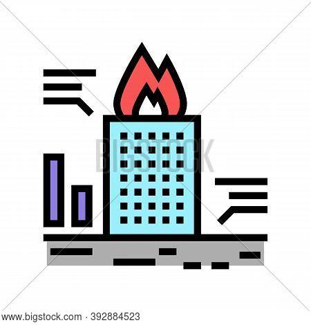 Skyscraper Fire Test Color Icon Vector. Skyscraper Fire Test Sign. Isolated Symbol Illustration