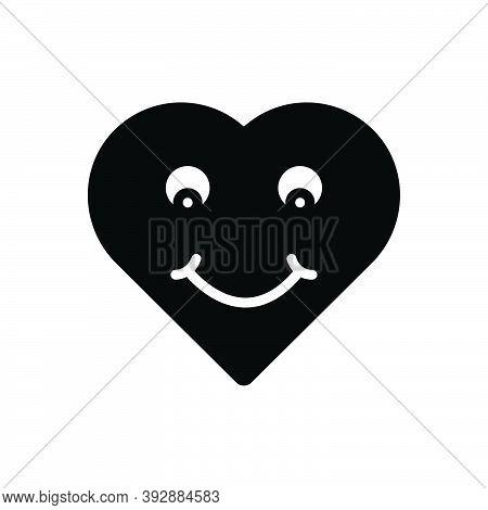 Black Solid Icon For Wonderful Amazing Lovely Delightful Fabulous Heart Smile Awesome Emoji Face Emo