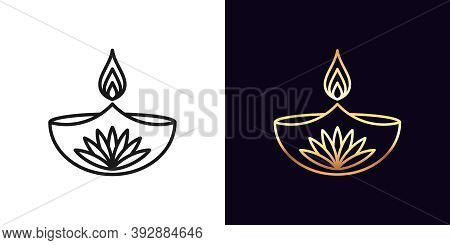 Outline Diya Icon With Editable Stroke. Linear Golden Diya Lamp With Fire And Lotus Flower, Deepaval