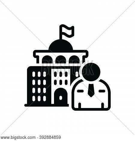 Black Solid Icon For Minister Undersecretary Parliament Architecture Government Politician