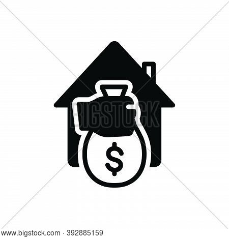 Black Solid Icon For Loan Borrow Money Cash Corruption Greed Bank Payment Cashback Wage Money-bag