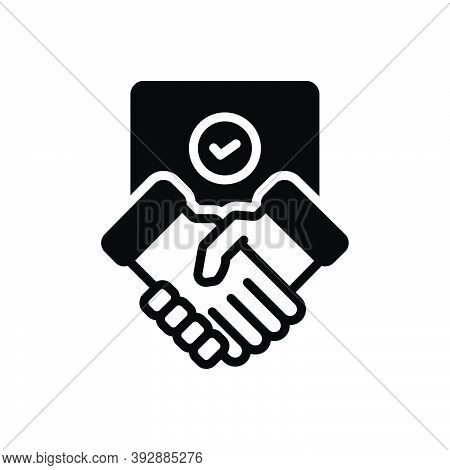Black Solid Icon For Settlement Partnership Commitment Agreement Deal Handshake Cooperation Business