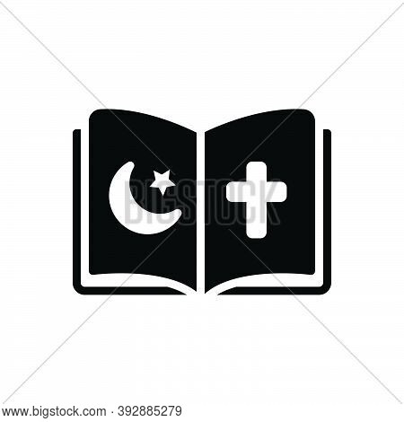 Black Solid Icon For Religious Holy Pray Virtuous Christian Book Holy-book Devotional Faith-based