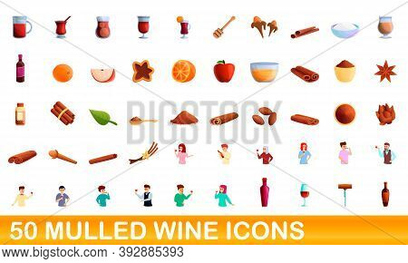 50 Mulled Wine Icons Set. Cartoon Illustration Of 50 Mulled Wine Icons Vector Set Isolated On White