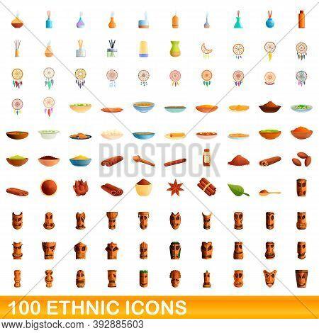 100 Ethnic Icons Set. Cartoon Illustration Of 100 Ethnic Icons Vector Set Isolated On White Backgrou
