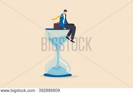 Wasting Time Waiting And Never Start New Business, Time Fly Or Ineffective Thinking Or Laziness Conc