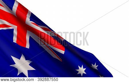 Vector Illustration With A Realistic Flag Of Australia And Blank Space For Text Isolated On White Ba
