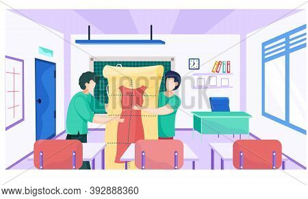 Sewing With Designer Or Seamstress Working With Red Dress Pattern. Men Are Holding The Pattern Of Fu