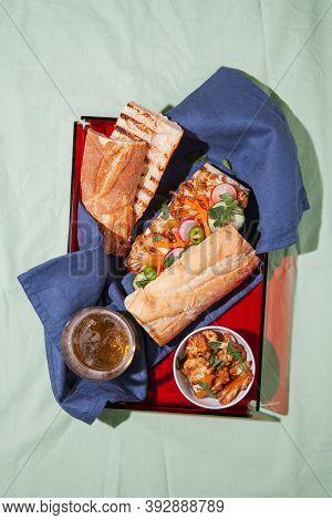 Vietnamese Banh Mi Sandwich With Roasted Cauliflower And Pickled Veggie. Plant Based Vegan Food