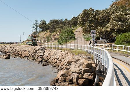 Granite Island, Sa, Australia - October 6, 2016: Horse Drawn Tram Being Pulled By A Clydesdale Horse