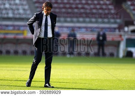 Torino, Italy. 1st November 2020. Simone Inzaghi, Head Coach Of Ss Lazio, Look On Before  The Serie