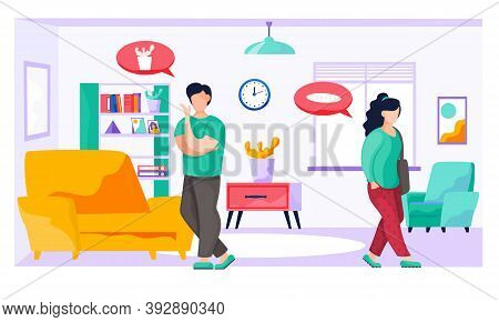 Young Family At Home In The Room, Woman With A Bag Goes To The Store, The Man Is Doing Household Cho