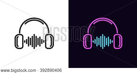 Outline Music Wave Icon With Editable Stroke. Linear Headphones With Sound Wave, Soundtrack. Dj Play