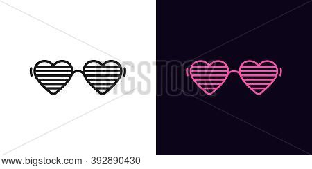 Outline Women Glasses Icon With Editable Stroke. Linear Sunglasses With Heart Shapes, Vivid Eyewear.