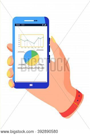 A Sectorized Chart With Dynamics Of Changes And A Diagrams With Captions. Blue Smartphone For Proces