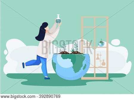 Scientist In Laboratory. Woman In White Coat, Environmental Investigator Or Chemical Researcher With