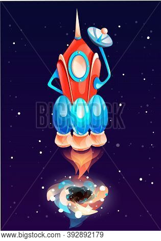 A Red-blue Rocket With Three Engines Flies Into Space And Blows Smoke. Fire At The Bottom Of The Air