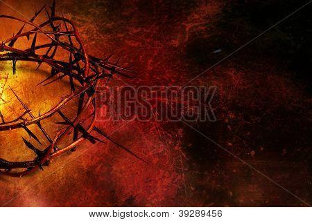 Crown Of Thorns On Dark Red Grunge Background