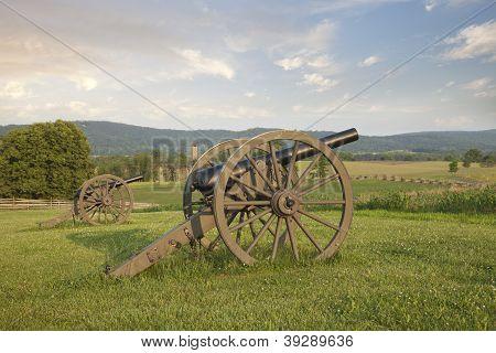 Cannons At Antietam (sharpsburg) Battlefield In Maryland
